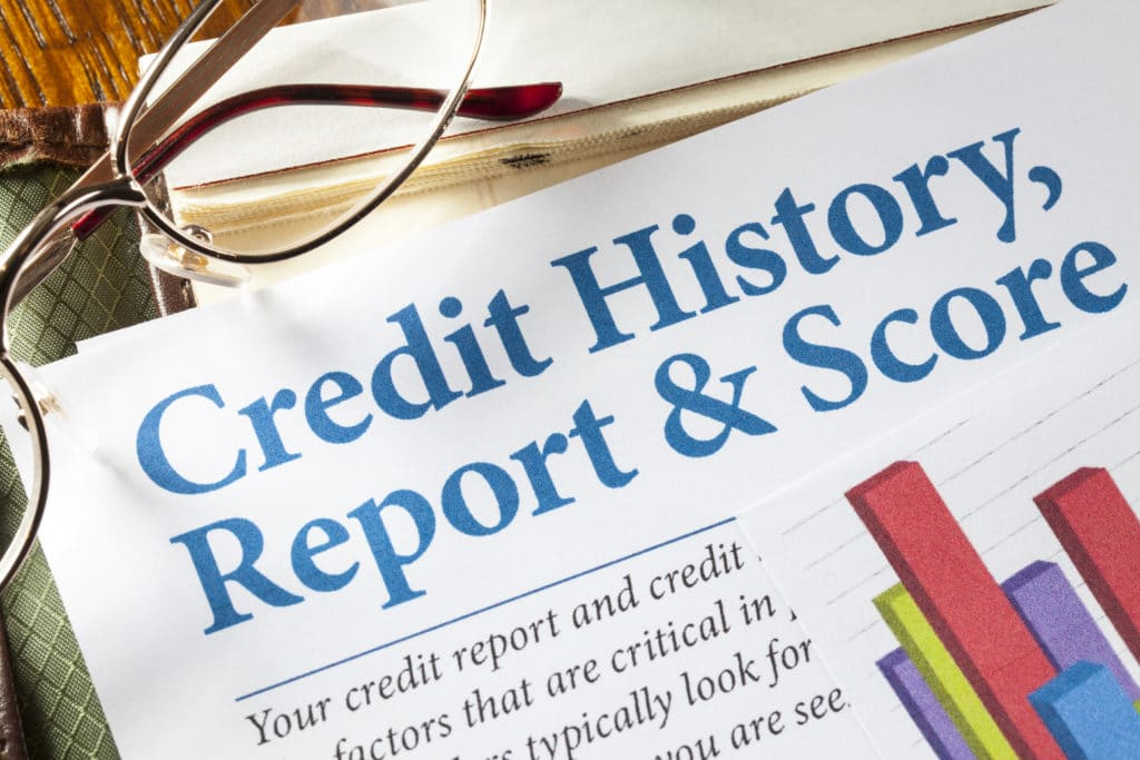 Credit History Report and Score with chart and glasses on desk